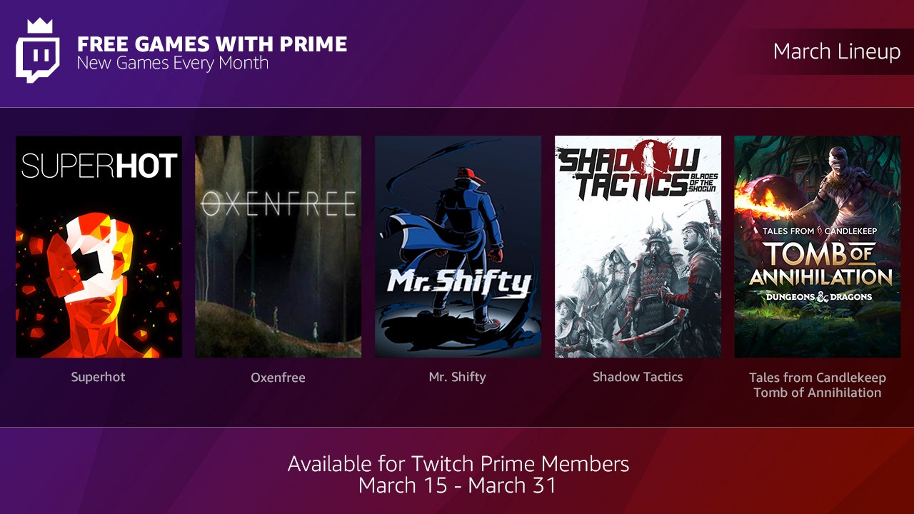 Twitch Prime Begins Offering Monthly Free Games - Users to Receive Five Games per Month