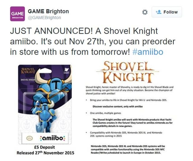 "UK Retailer GAME Revealed ""Shovel Knight"" Amiibo - A Future Appearance for"
