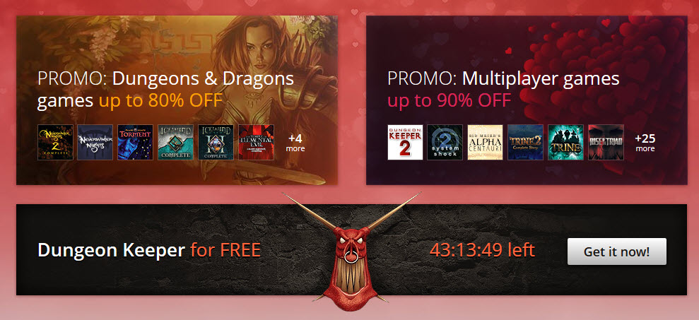 GOG Valentine's Day Sale Shares the Love - Get Dungeon Keeper Free, Others on Sale