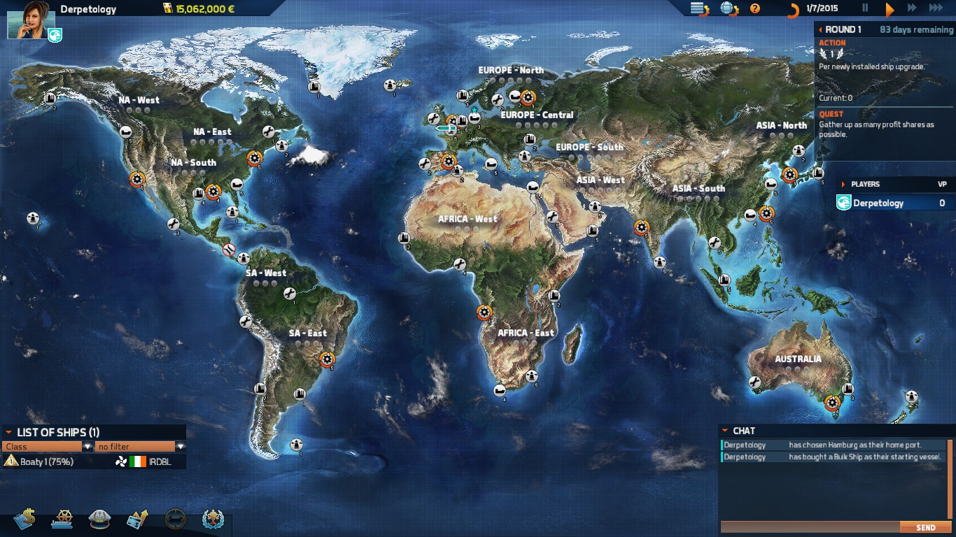 World map showing some of the ports early in the game.